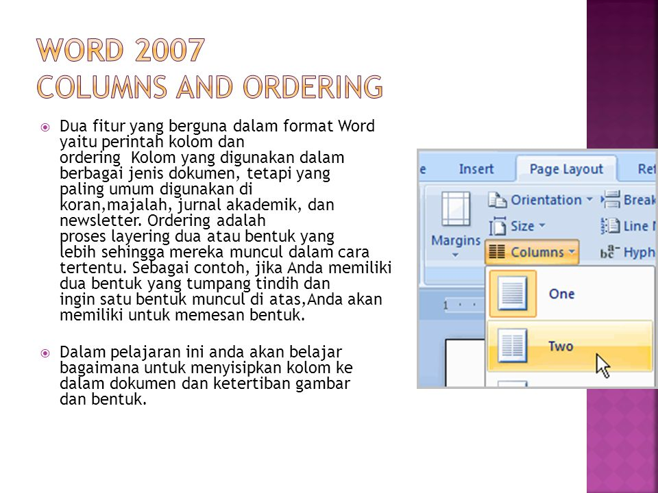 Word 2007 Columns and Ordering