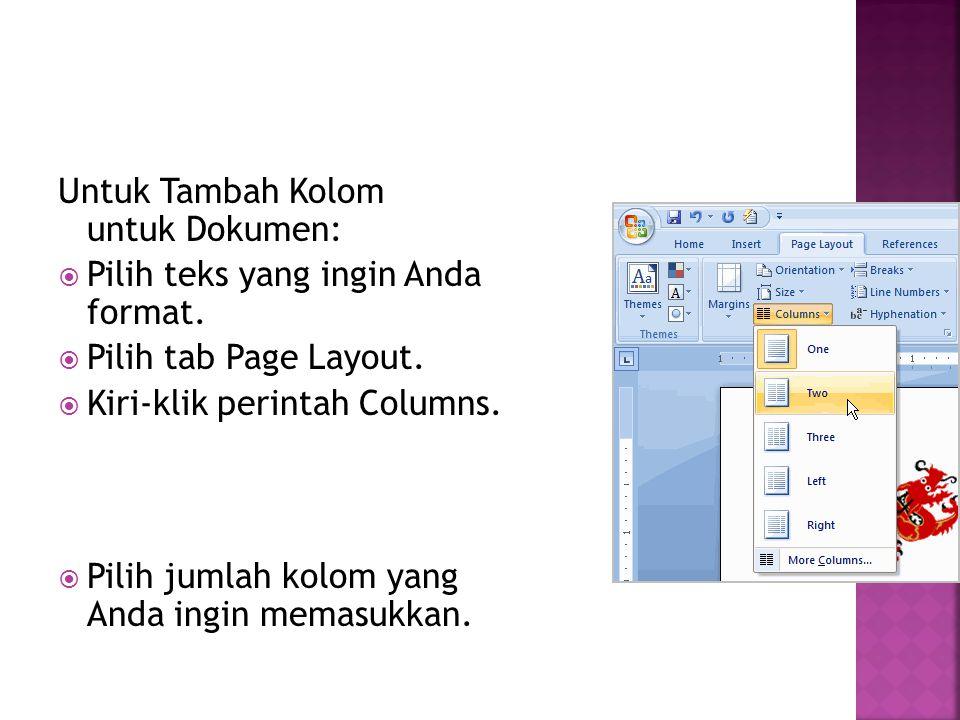 Untuk Tambah Kolom untuk Dokumen:
