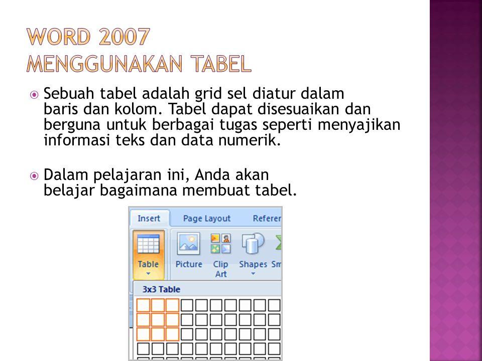 Word 2007 menggunakan Tabel