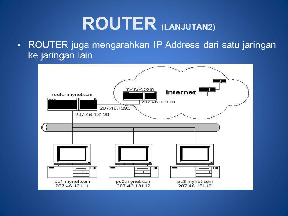 ROUTER (LANJUTAN2) ROUTER juga mengarahkan IP Address dari satu jaringan ke jaringan lain