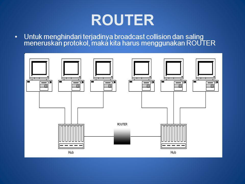 ROUTER Untuk menghindari terjadinya broadcast collision dan saling meneruskan protokol, maka kita harus menggunakan ROUTER.