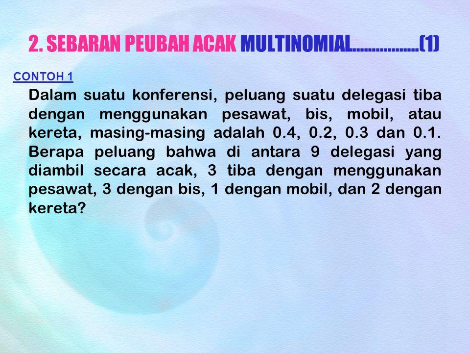 2. SEBARAN PEUBAH ACAK MULTINOMIAL……………..(1)