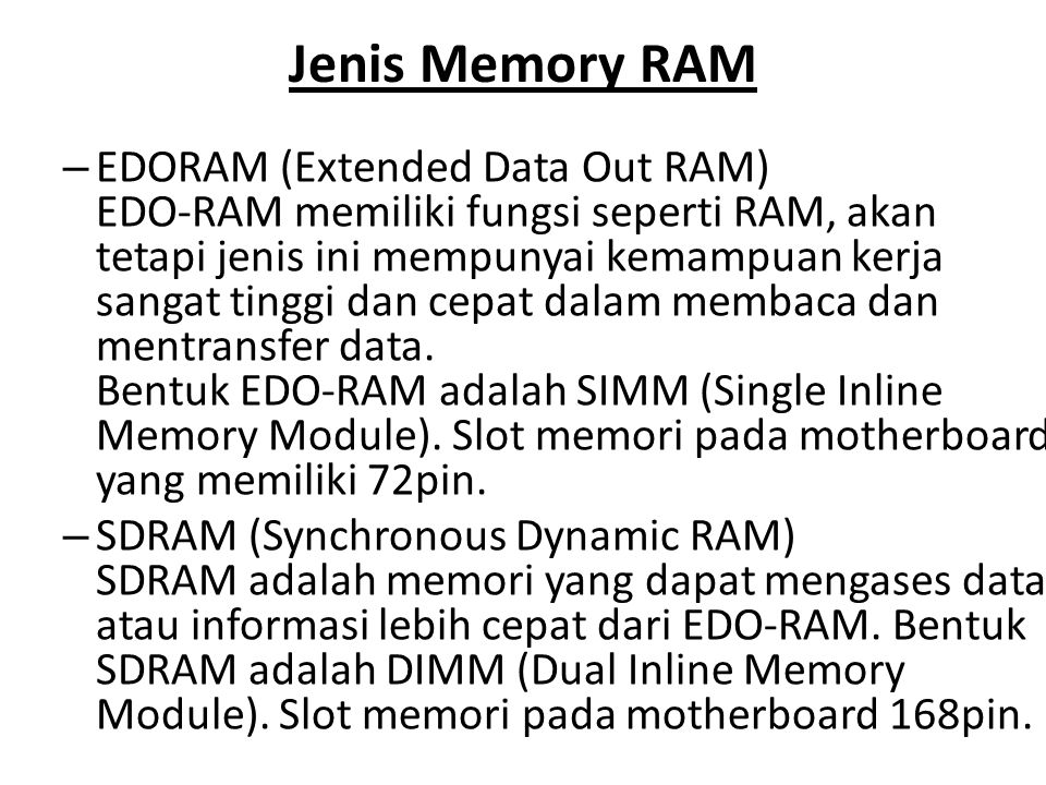 Jenis Memory RAM