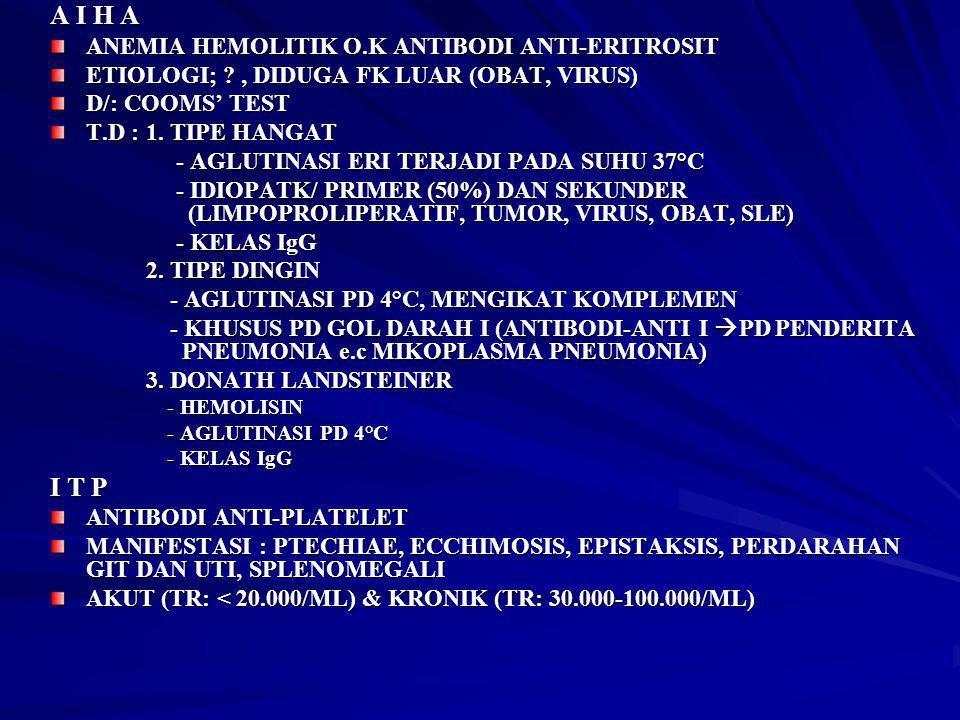 A I H A I T P ANEMIA HEMOLITIK O.K ANTIBODI ANTI-ERITROSIT