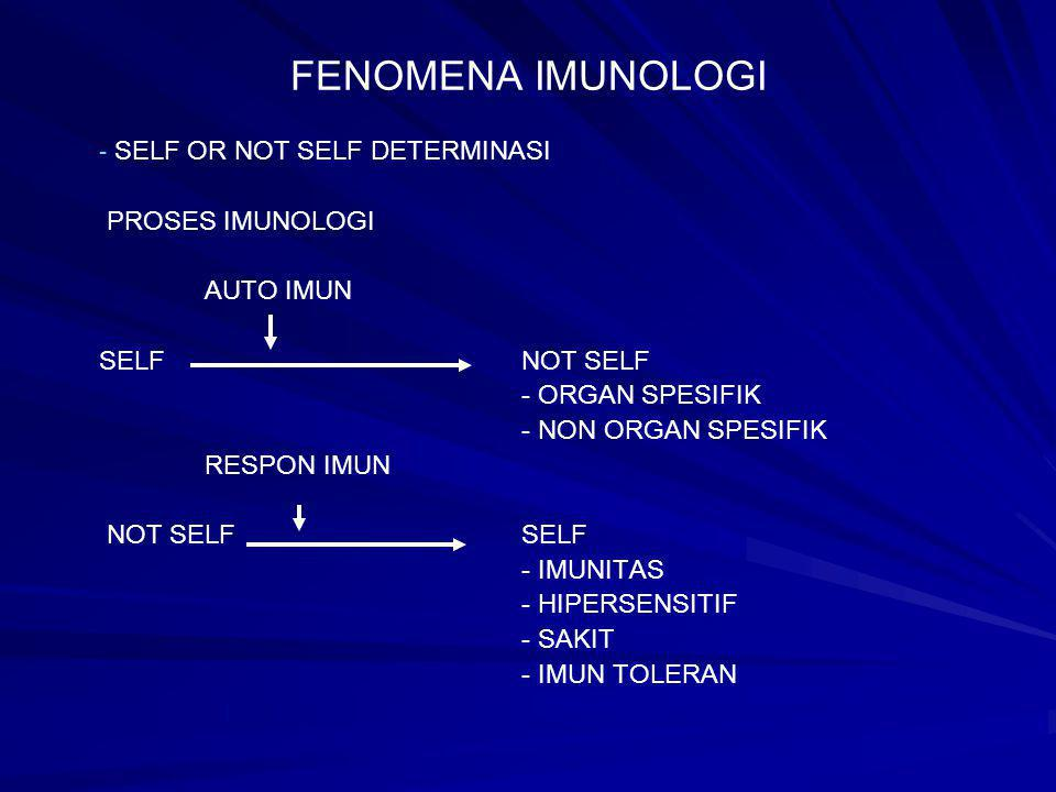 FENOMENA IMUNOLOGI SELF OR NOT SELF DETERMINASI PROSES IMUNOLOGI