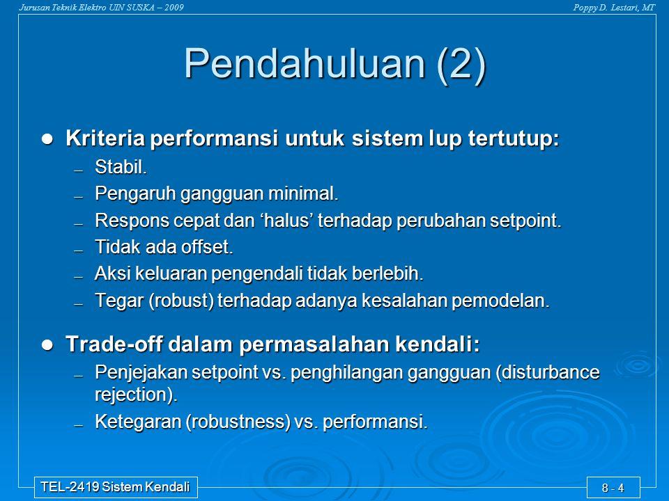 Pendahuluan (2) Kriteria performansi untuk sistem lup tertutup: