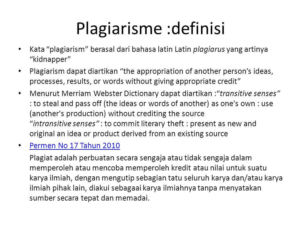 Plagiarisme :definisi