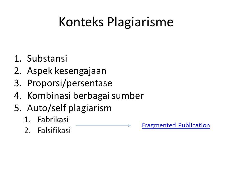 Konteks Plagiarisme Substansi Aspek kesengajaan Proporsi/persentase