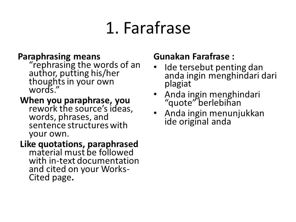 1. Farafrase