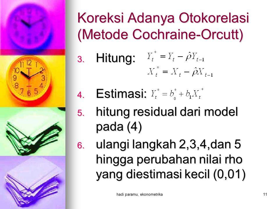 Koreksi Adanya Otokorelasi (Metode Cochraine-Orcutt)