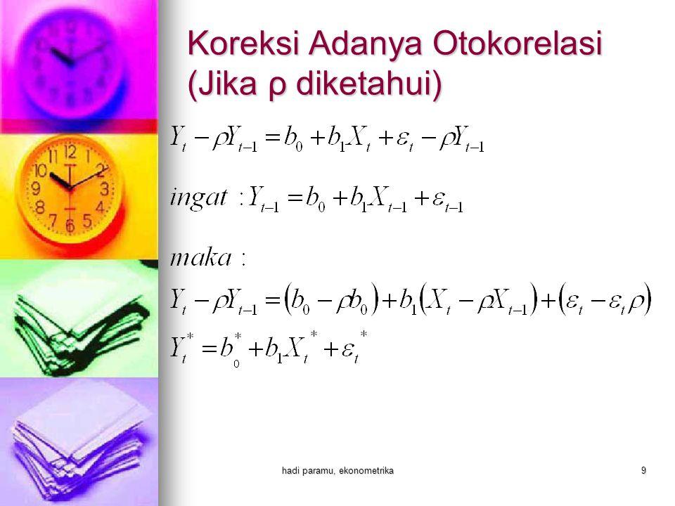 Koreksi Adanya Otokorelasi (Jika ρ diketahui)
