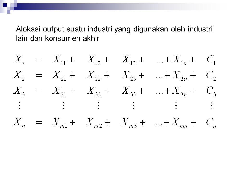 Alokasi output suatu industri yang digunakan oleh industri lain dan konsumen akhir