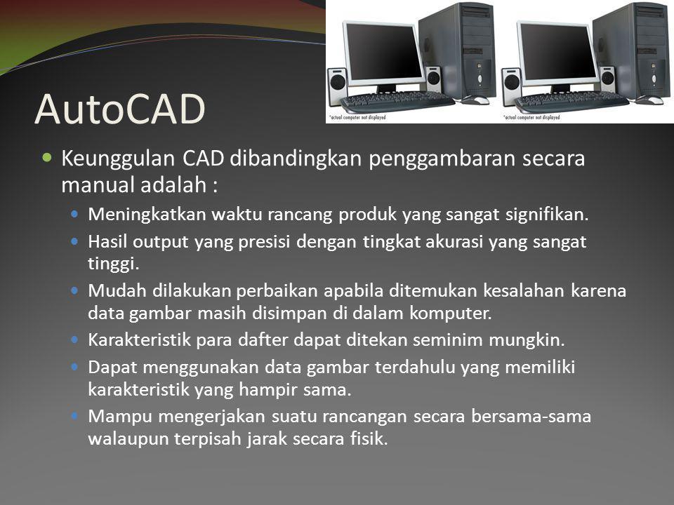 AutoCAD Keunggulan CAD dibandingkan penggambaran secara manual adalah : Meningkatkan waktu rancang produk yang sangat signifikan.