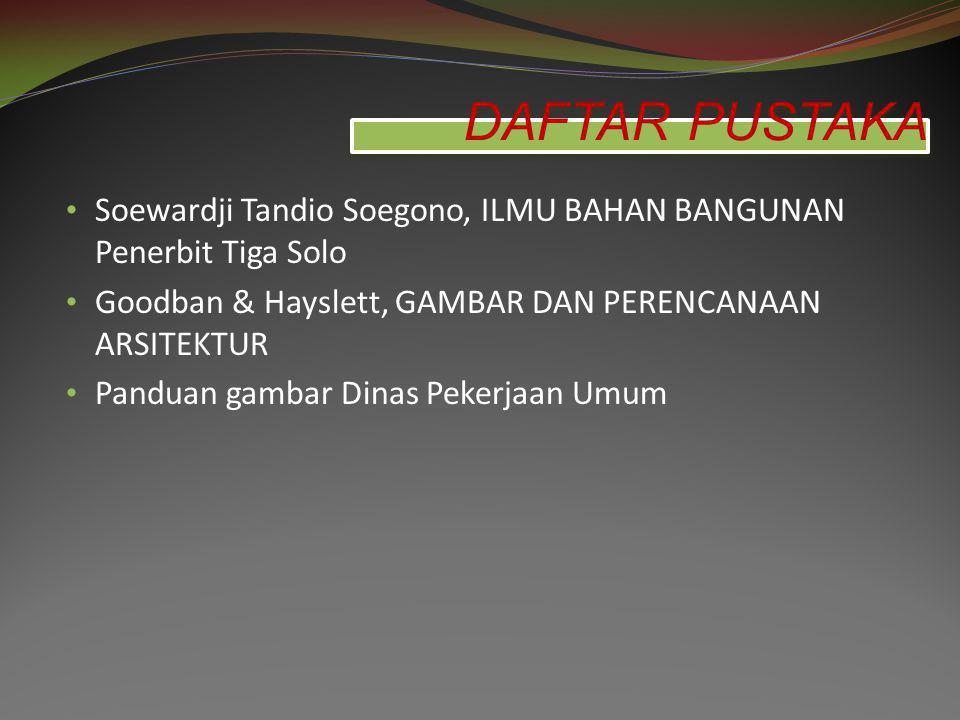 DAFTAR PUSTAKA Soewardji Tandio Soegono, ILMU BAHAN BANGUNAN Penerbit Tiga Solo. Goodban & Hayslett, GAMBAR DAN PERENCANAAN ARSITEKTUR.