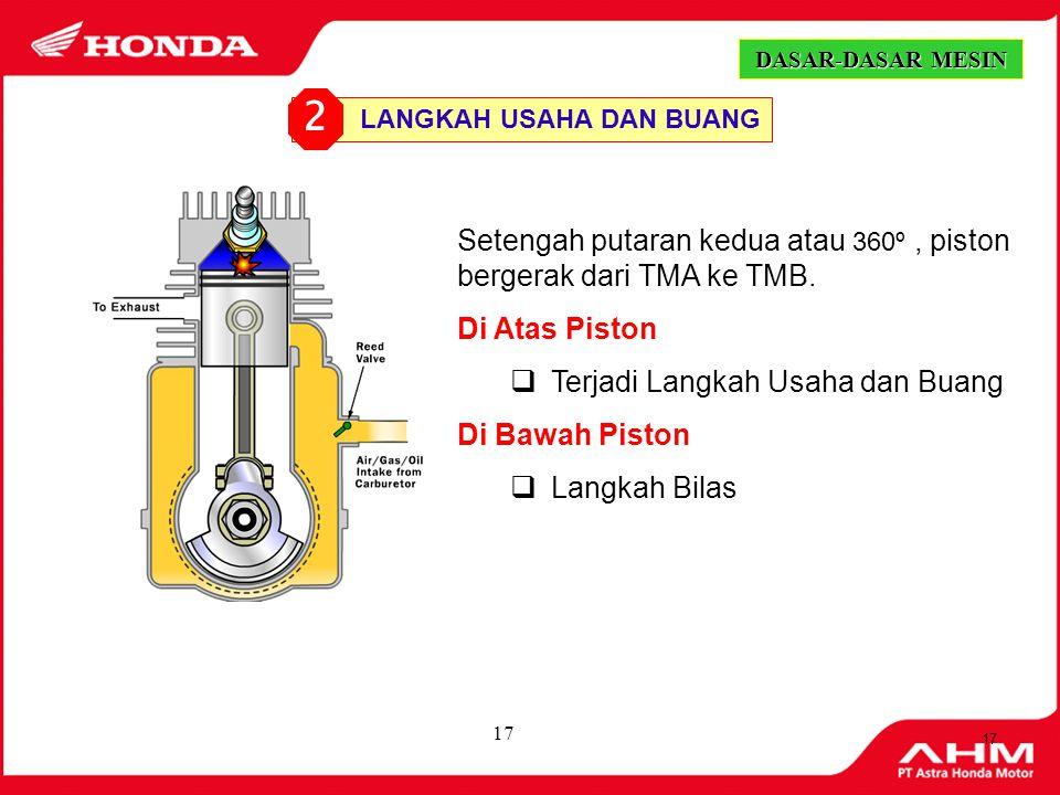 2 Setengah putaran kedua atau 360º , piston bergerak dari TMA ke TMB.