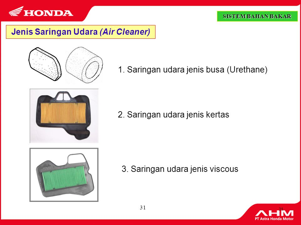 Jenis Saringan Udara (Air Cleaner)