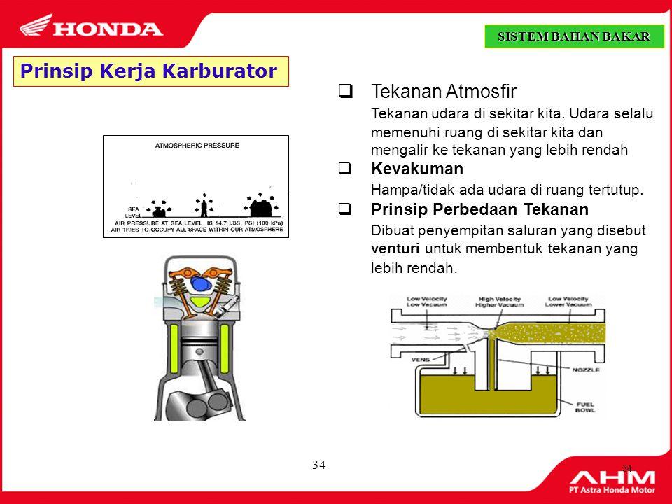 Prinsip Kerja Karburator Tekanan Atmosfir