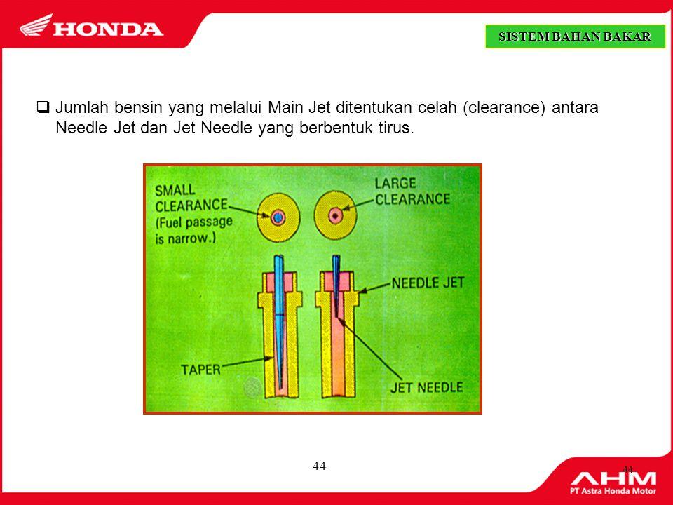SISTEM BAHAN BAKAR Jumlah bensin yang melalui Main Jet ditentukan celah (clearance) antara Needle Jet dan Jet Needle yang berbentuk tirus.