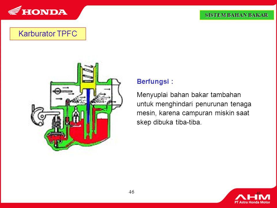 Karburator TPFC Berfungsi :