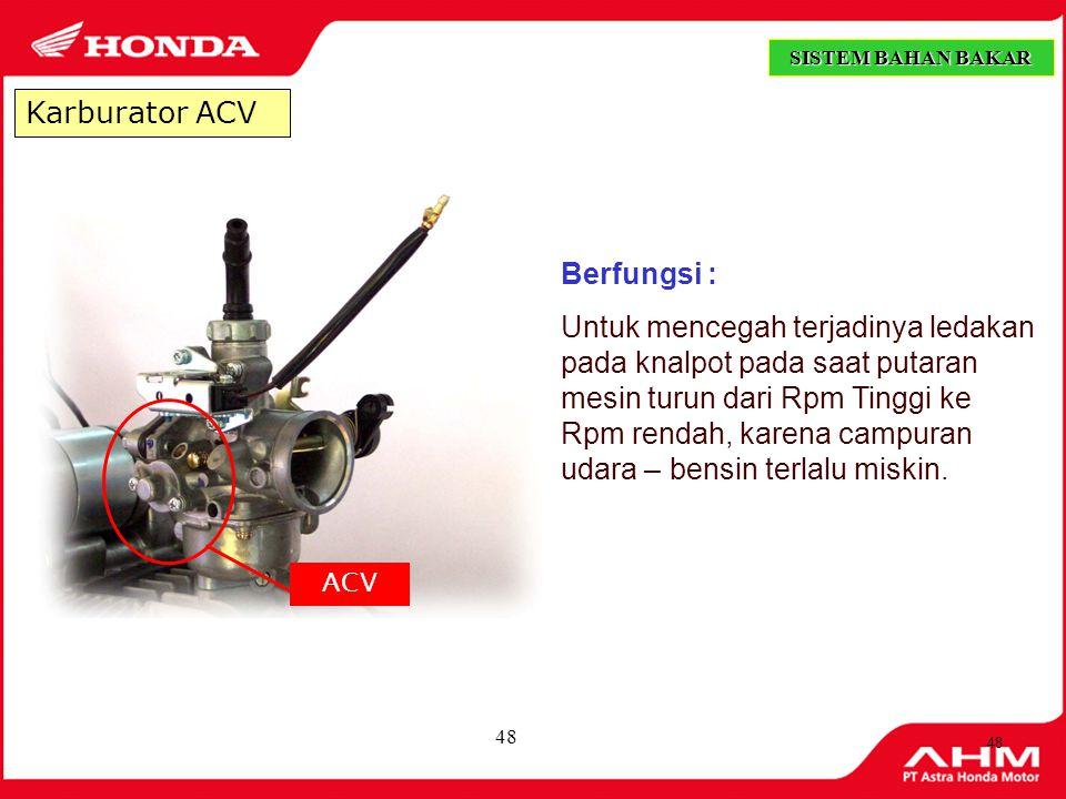 Karburator ACV Berfungsi :