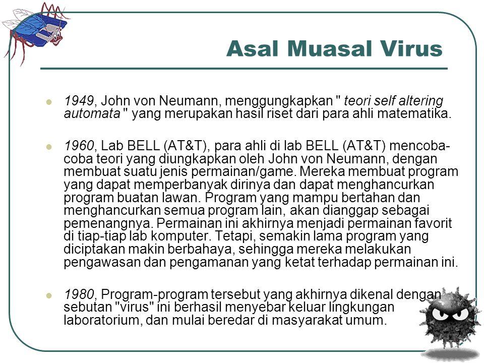 Asal Muasal Virus 1949, John von Neumann, menggungkapkan teori self altering automata yang merupakan hasil riset dari para ahli matematika.