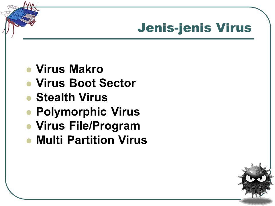 Jenis-jenis Virus Virus Makro Virus Boot Sector Stealth Virus