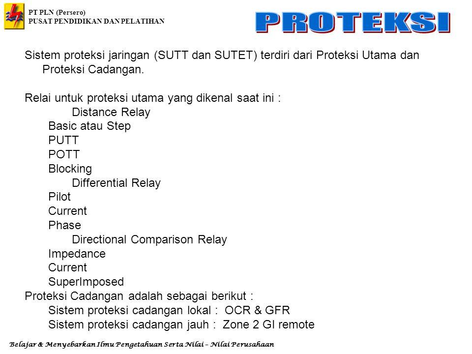 Sistem proteksi jaringan (SUTT dan SUTET) terdiri dari Proteksi Utama dan Proteksi Cadangan.