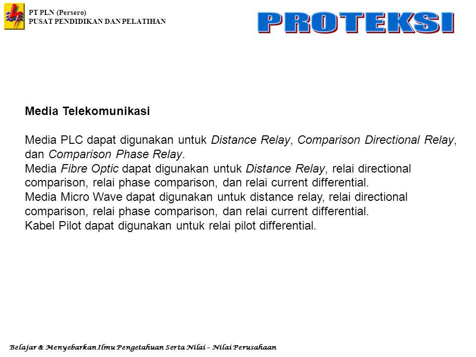 Media Telekomunikasi Media PLC dapat digunakan untuk Distance Relay, Comparison Directional Relay, dan Comparison Phase Relay.