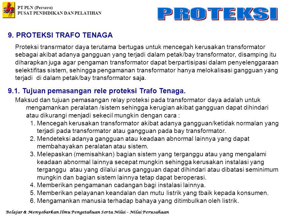 9.1. Tujuan pemasangan rele proteksi Trafo Tenaga.