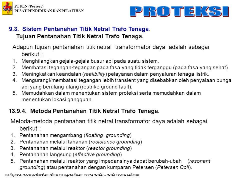 Tujuan Pentanahan Titik Netral Trafo Tenaga.