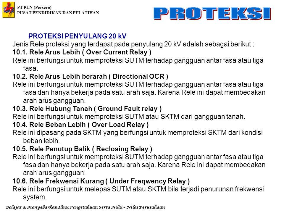 PROTEKSI PENYULANG 20 kV Jenis Rele proteksi yang terdapat pada penyulang 20 kV adalah sebagai berikut :