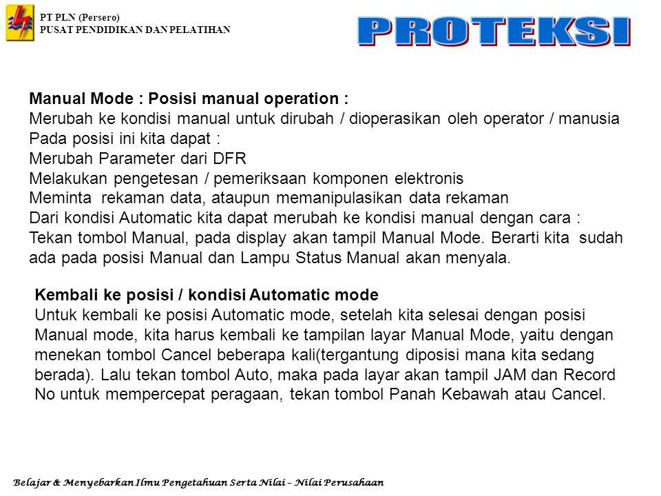 Manual Mode : Posisi manual operation :