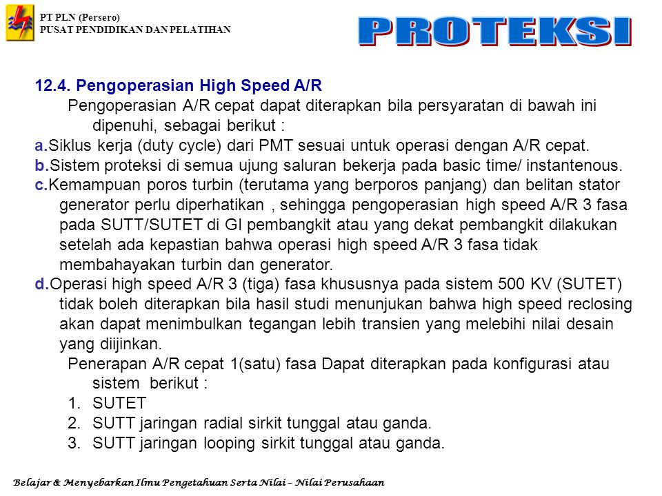 12.4. Pengoperasian High Speed A/R