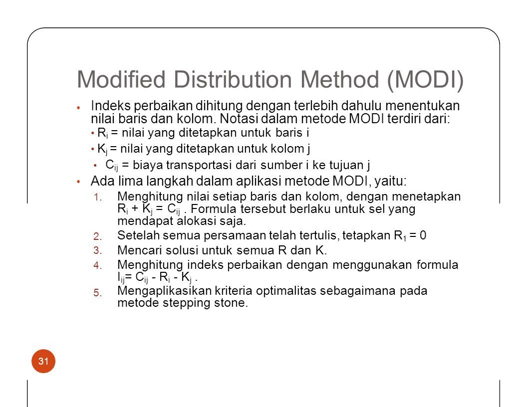 Modified Distribution Method (MODI)