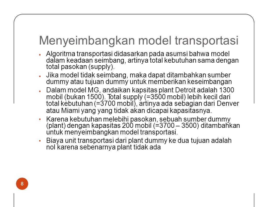 Menyeimbangkan model transportasi