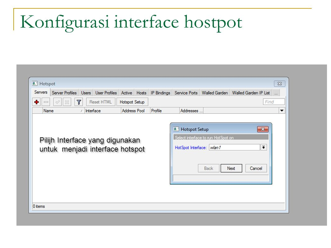 Konfigurasi interface hostpot