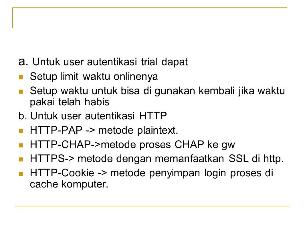 a. Untuk user autentikasi trial dapat