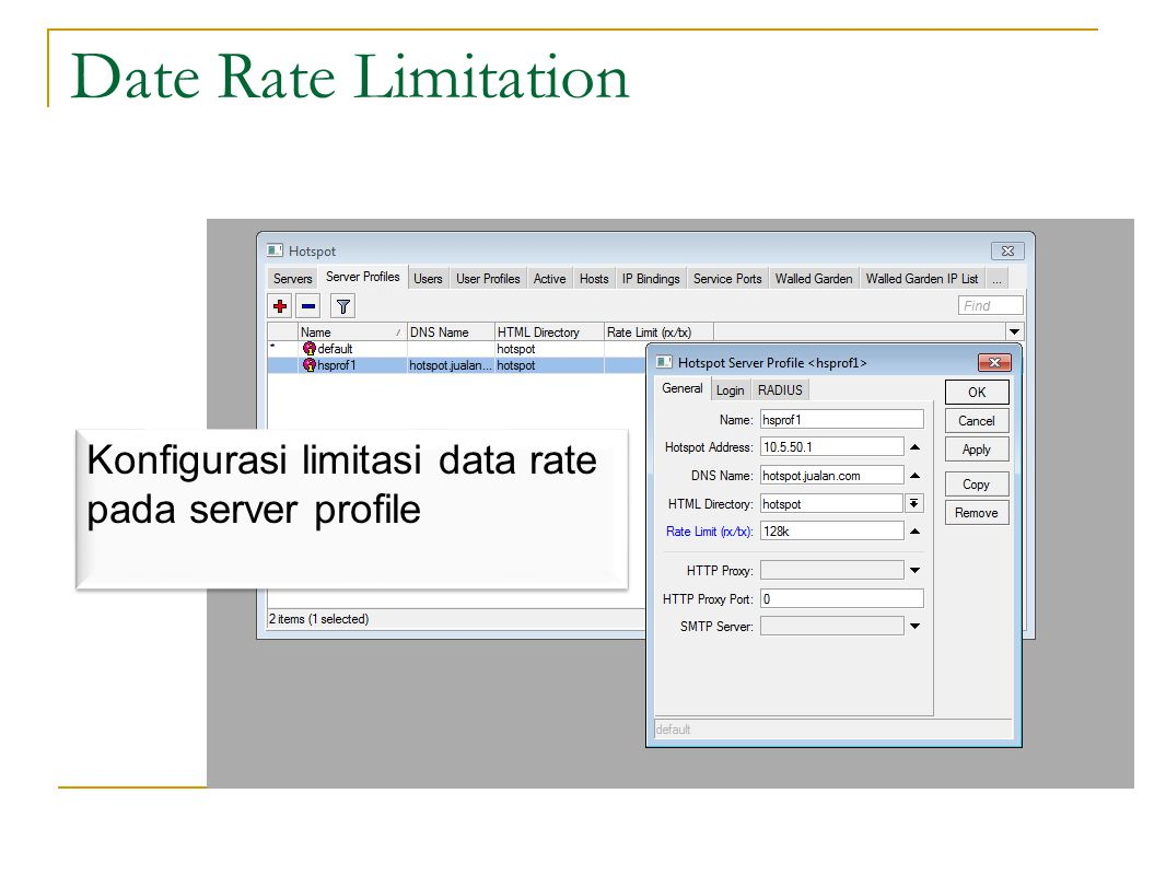 Date Rate Limitation Konfigurasi limitasi data rate