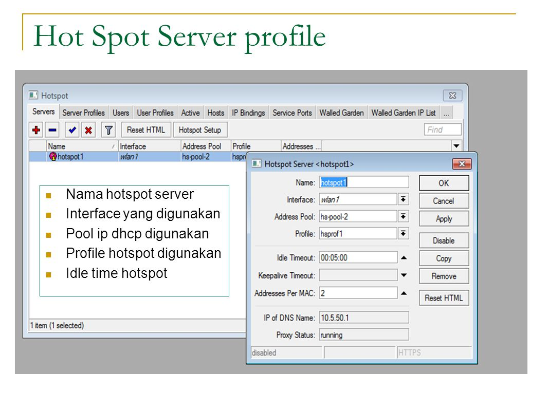 Hot Spot Server profile