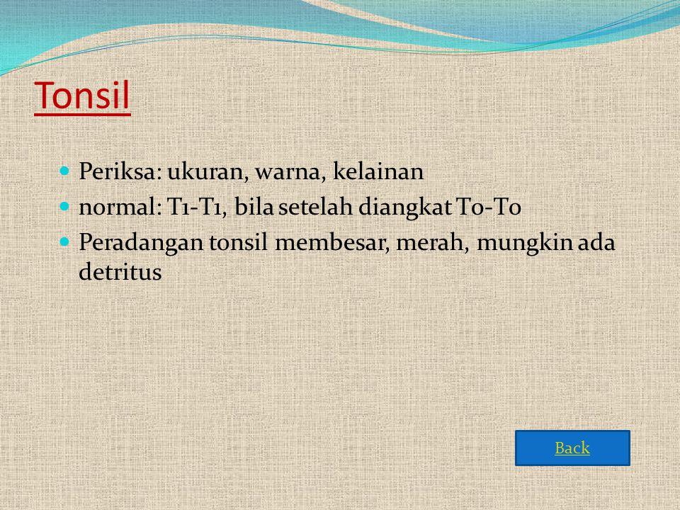 Tonsil Periksa: ukuran, warna, kelainan
