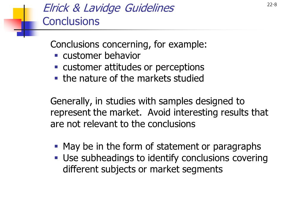 Elrick & Lavidge Guidelines Conclusions