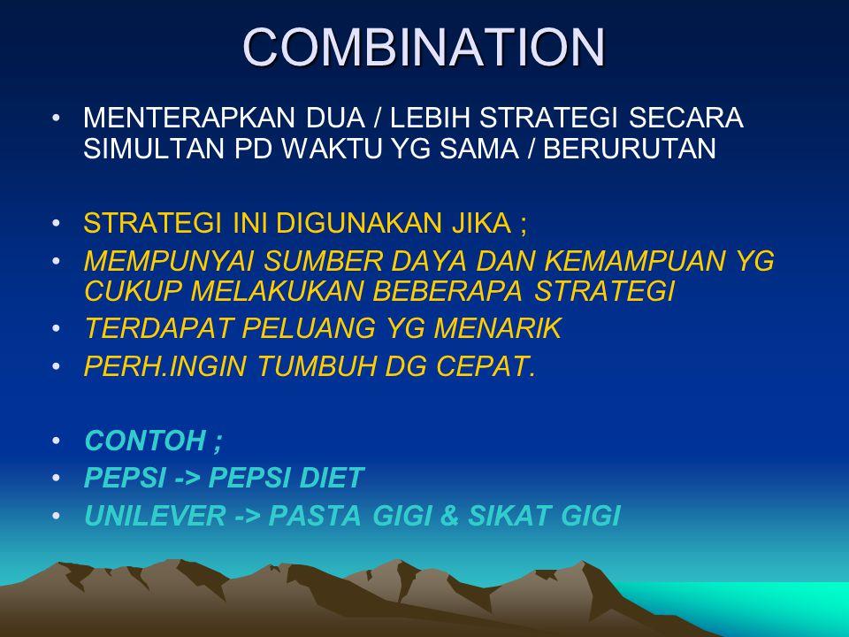 COMBINATION MENTERAPKAN DUA / LEBIH STRATEGI SECARA SIMULTAN PD WAKTU YG SAMA / BERURUTAN. STRATEGI INI DIGUNAKAN JIKA ;