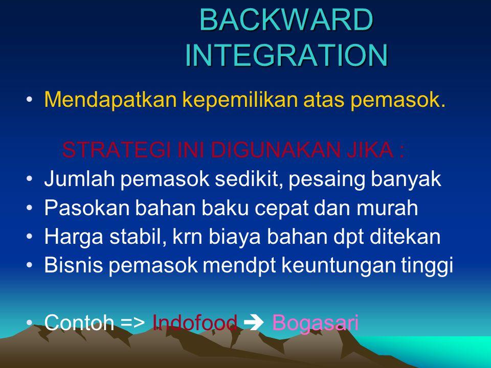 BACKWARD INTEGRATION Mendapatkan kepemilikan atas pemasok.