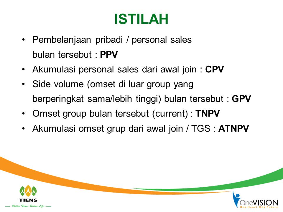 ISTILAH Pembelanjaan pribadi / personal sales bulan tersebut : PPV