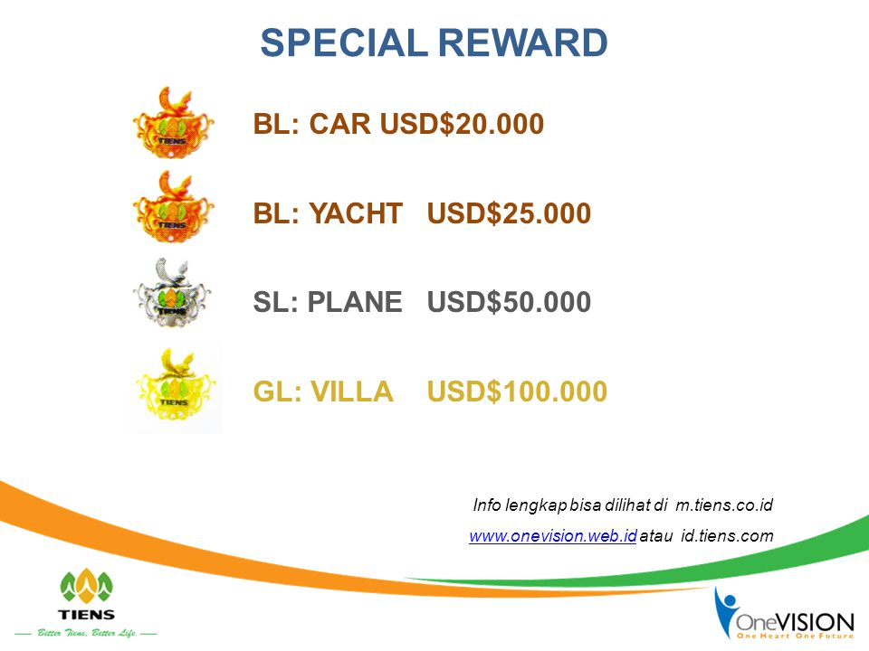 SPECIAL REWARD BL: CAR USD$20.000 BL: YACHT USD$25.000