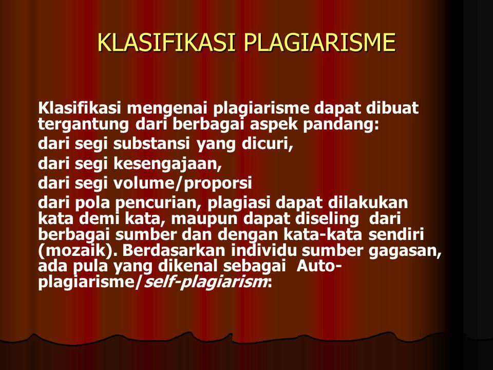 KLASIFIKASI PLAGIARISME