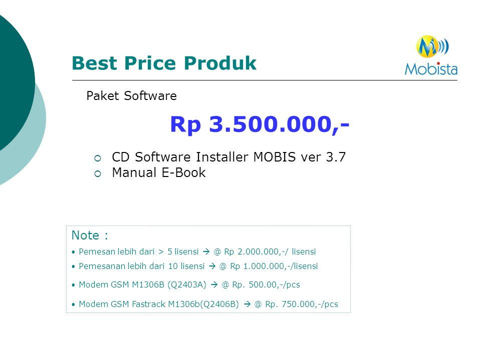 Rp 3.500.000,- Best Price Produk CD Software Installer MOBIS ver 3.7