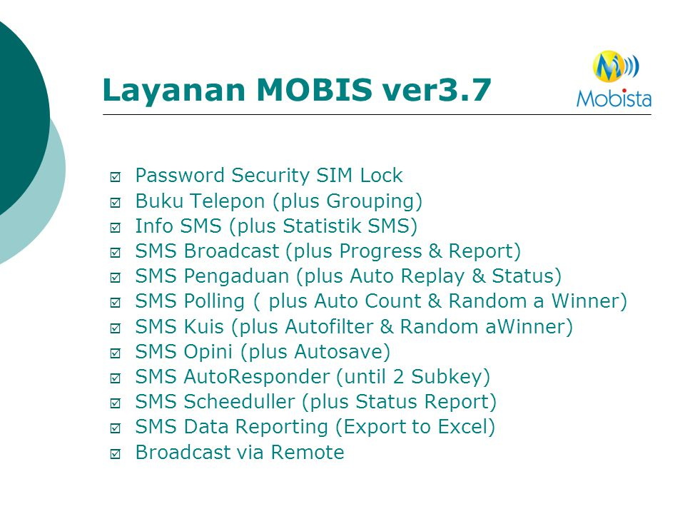 Layanan MOBIS ver3.7 Password Security SIM Lock