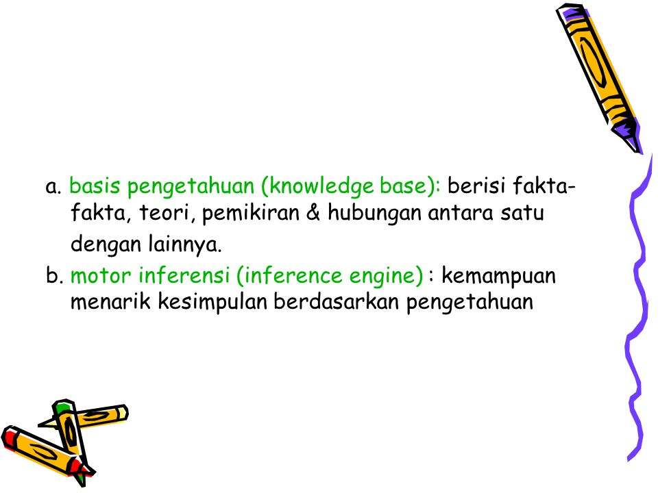 a. basis pengetahuan (knowledge base): berisi fakta-fakta, teori, pemikiran & hubungan antara satu