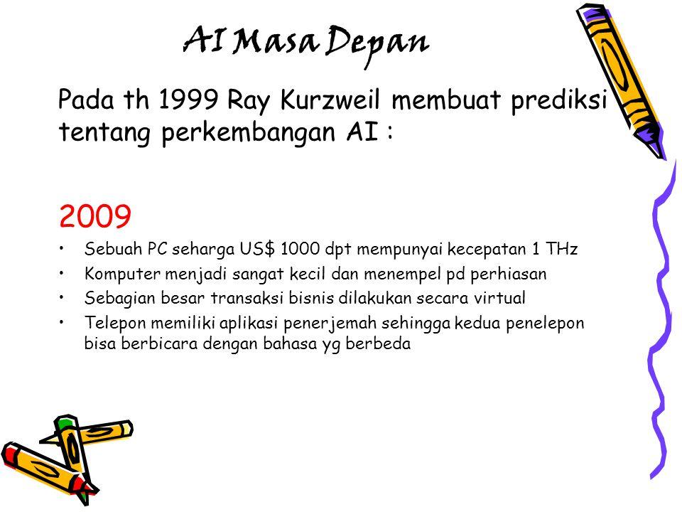 AI Masa Depan Pada th 1999 Ray Kurzweil membuat prediksi tentang perkembangan AI : 2009. Sebuah PC seharga US$ 1000 dpt mempunyai kecepatan 1 THz.